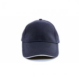 深藍交織帽夾白